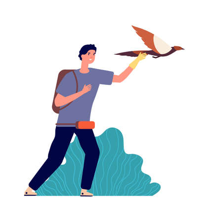 Guy and falcon. Male bird owner, wild pet. Man releases eagle in flight, isolated ornithologist vector illustration. Bird falcon, traditional hunter eagle