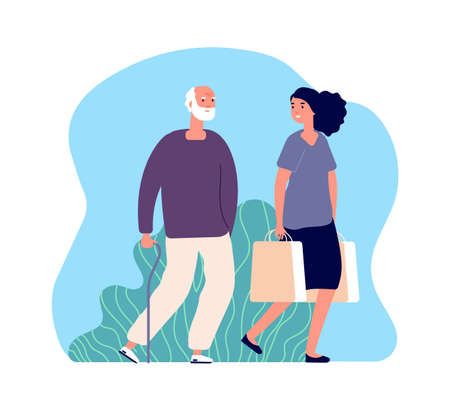 Volunteering. Social worker, elderly man character. Young woman and old man, female helping senior male with purchases vector illustration. Senior character and woman volunteering elderly assistance