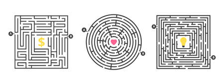Labyrinth game. Fun maze, puzzle for leisure time. Find money love or idea. Life competition or search goal solution metaphor. Round square labyrinths vector illustration. Maze and puzzle labyrinth