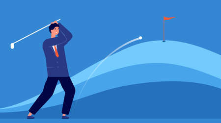 Successful business hitting. Target accuracy, businessman hits golf ball. Objective achievement metaphor, leadership strategy vector concept. Businessman pley golf, hobby activity manager illustration Illustration