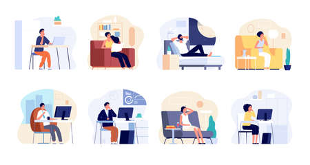 People dreaming. Dreamy man think, work or home relax. Young woman imagination, creative workers smiling and have ideas vector illustration. Dreaming character, man in office thoughtful Illustration