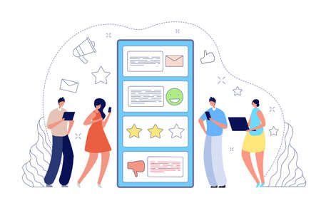 Online feedback. Internet review, customer survey or tip service. Good bad testimonial, people leave evaluation in mobile app vector concept. Review online, internet rating from customer illustration