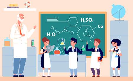 Kids chemistry lab. School science laboratory, children in class chalkboard. Scientific experiment, cartoon smart girl vector illustration. Lab chemistry and laboratory to education and experiment
