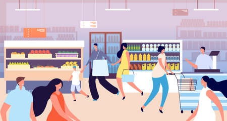 Grocery store shopping. Customer in supermarket, kid mother buy healthy food. Family people with basket, vegetable shop vector illustration. Supermarket with customer walking with cart