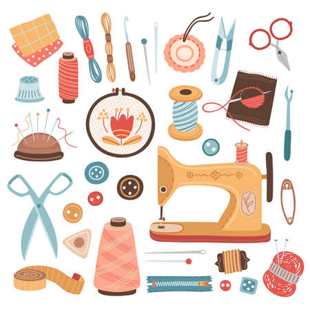Needlework tools. Craft hobby, sew knitting embroidery supplies. Thread, yarn wool ball and scissors, sewing machine vector illustration. Needlework and sewing, craft hobby equipment Векторная Иллюстрация