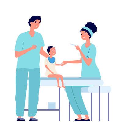 Children vaccination. Baby and nurse with syringe, coronavirus or flu medications. Healthcare vector illustration. Vaccination injection, healthcare disease immunization Illustration