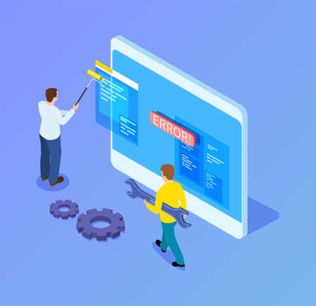 Isometric web developers. Programmers working with interface, mobile app upgrade. 3d tablet and it workers vector illustration. Development app interface, application developer Illustration