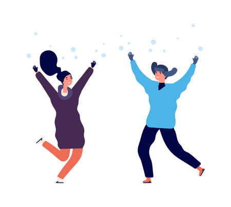People enjoy snow. Man woman jumping snowfall, flat happy winter characters. Season activity in cold weather vector illustration. Woman and man in snowfall jump