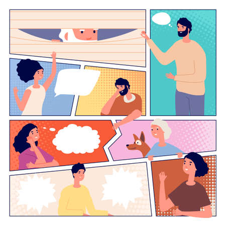 Comic page. People communication, comics poster design. Man woman and speech bubbles, person peeking and greetings vector illustration. Speech comic book page with people chat
