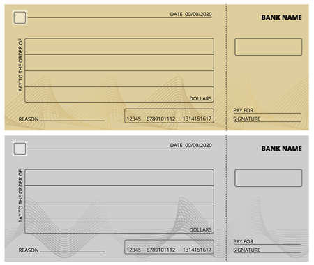 Empty check template. Business cheque book design. Bank checking, blank page for charity donations, corporate payment vector illustration. Empty cheque to payment in bank Illustration