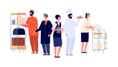 Hospitality workers. Hotel staff characters, receptionist porter maid doorman chef. Hostel team, travel and tourism vector illustration. Professional service hotel, employee and manager receptionist