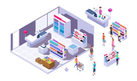Isometric grocery store interior. Customers, stands with goods and cashier. Isolated buyers in supermarket vector illustration. Isometric cashier and supermarket store with people