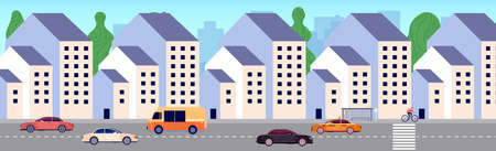 Modern city street. Urban district, new buildings area. Apartment houses, bus stop and cars. Urbanization vector illustration. City street building with car traffic