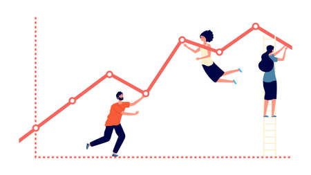 Pushing upward graph. Work results, increase profit and business growth metaphor. Flat people progress, teamwork and development vector concept. Illustration teamwork progress and achievement