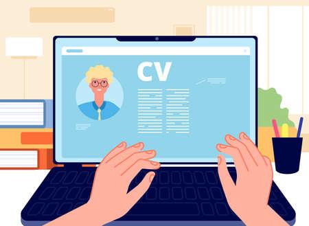 Online CV. Young man writing job application on laptop. HR concept, searching job in internet. Career start, hands working on computer vector illustration. Internet online, hr employee, write cv