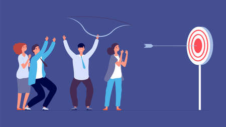 Teamwork success metaphor. Target goal, focus and progress. Business archery, arrow hit focus. Flat happy startup team vector concept. Target goal, teamwork challenge progress illustration Illustration