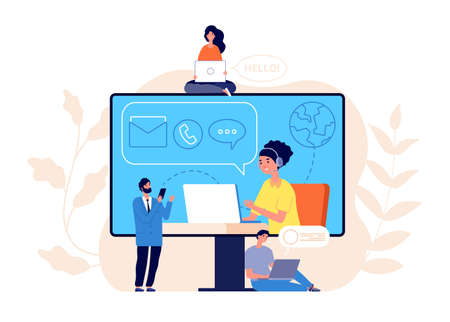 Contact us concept. Business website, call center or help line community. Creative people work modern support service vector illustration. Business customer call assistance, support website Illustration