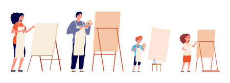 Painters. Family painting, children and adults drawing on easel and paper. Different ages hobby, professional designer vector illustration. Craft painter with palette, creativity painting by family