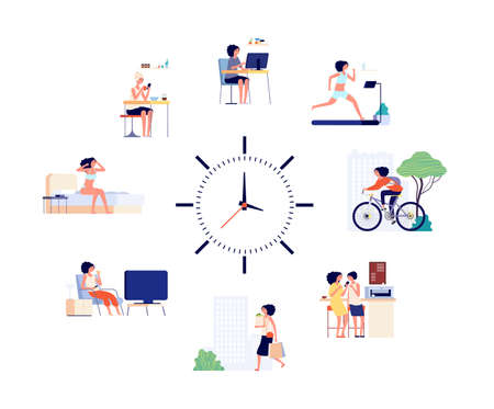 Woman daily schedule. Female activities every day, different life situations and clock. Girl wake up working drinking coffee and meeting friend vector illustration. Woman daily schedule, office home