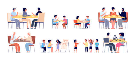 Friends playing games. Happy hobbies, people play together. Kids and family home meeting, girl boy active street gaming vector illustration. Game board at table, entertainment friendship