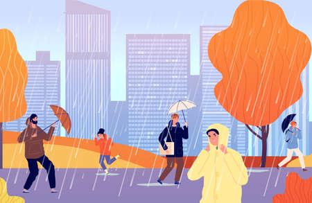 Autumn people on rain. Person with umbrella, girl walk raining city street. Man wear raincoat, cold stormwater season vector illustration. Autumn rain, people under umbrella, fall season