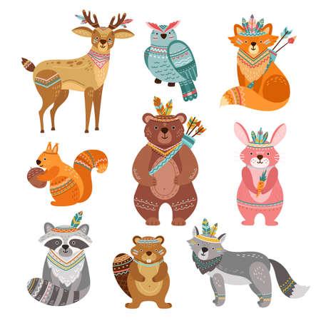 Cartoon tribal animals. Cute woodland illustration, boho fox wolf deer. Brave forest bear, feather arrow, wildlife vector. Tribal colorful forest animal, woodland bird , fox and rabbit illustration