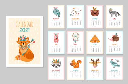 Cute animal calendar 2021. Kid animals, forest tribal wildlife posters. Monthly schedule arctic fox bear deer raccoon vector illustration. Calendar with tribe character, raccoon and bird Illusztráció