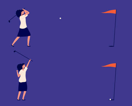 Business goal. Woman play in golf, successful project or investments metaphor. Manager golf club, ball hits target and girl win vector illustration. Girl win hiy precise target, successful playing