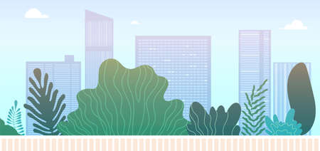 Downtown park landscape. City green area or walking street. Skyscrapers and green spaces, urban landscaping vector illustration. Downtown city and landscape building town and green park