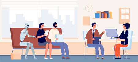 Job interview queue. People and robot sitting in waiting line in office. HR agency, recruitment and hiring concept. Robotization vector illustration. Android in queue with people at office