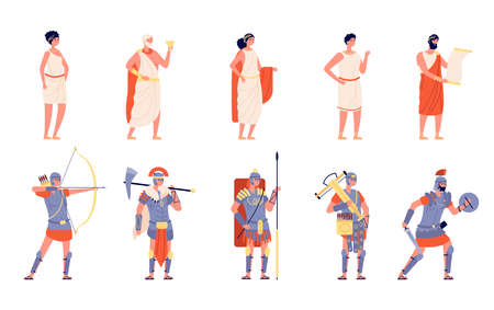Ancient rome. Ancients people, isolated roman empire character. History greek medieval person, cartoon historical warrior emperor vector set. Ancient traditional citizen, roman and gladiator