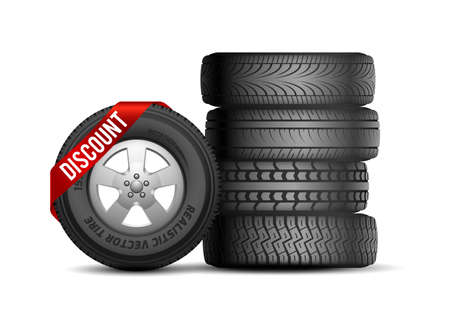 Tires discount. Isolated realistic rubber car wheels. Auto service and repair. Tire with sale ribbon vector illustration. Car tyre promo, rubber store for transport