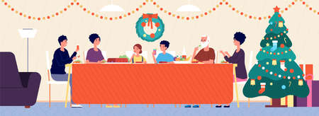 Christmas family dinner. Holiday living room interior, traditional eating. Seniors, children sitting at festive table vector illustration. Family feast traditional new year and xmas Vecteurs