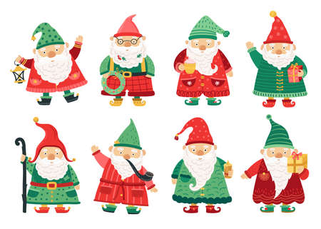 Christmas dwarfs. Cute fairytale gnome, old beard men greeting with x-mas. Home garden magical characters, winter holiday fantasy vector set. Christmas holiday character, winter dwarf, xmas elf of set