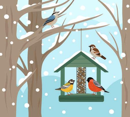 Winter feeder. Snow woodland, birds food on tree poster. Feeding wild animals on nature, flat bullfinch chickadee robin vector illustration. Birdwatching and birdhouse, feeding house Ilustración de vector