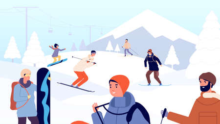 Ski resort. Fun winter people, skiers and snowboarder. Holiday in mountains, snow landscape and extreme sport man woman vector illustration. Mountain resort and landscape lifestyle, snowboard leisure