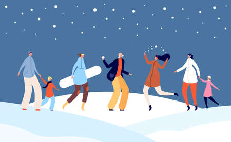 Festive winter people. Happy holiday, christmas family with children on snow city street illustration. Xmas new year crowd vector. Illustration family recreation winter, christmas outdoor leisure