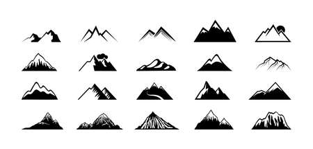 Mountain peak silhouettes. Black hills, top rocks. Mountains symbols, extreme sport hiking climbing travel or adventures. Isolated geology landscape elements vector. Illustration mountain climbing