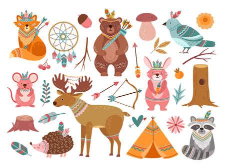 Woodland cute animal. Tribal fox, forest adventure child animals. Little bear brave deer, feather arrow for baby nursery vector illustration. Fox tribal woodland, forest wildlife, animal ethnic
