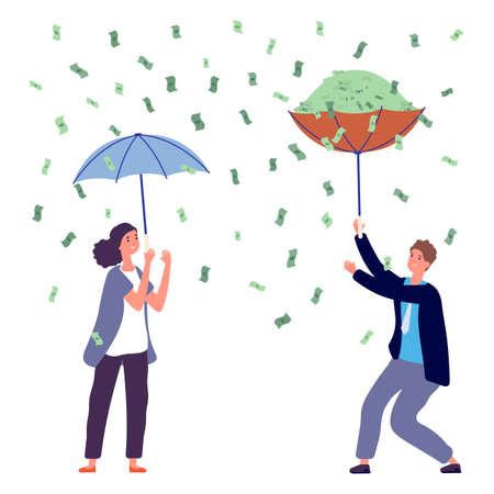People under money rain. Woman man holding umbrella, investment profit. Happy business person, rich vector characters. Rain dollar cash, success cartoon woman and man illustration