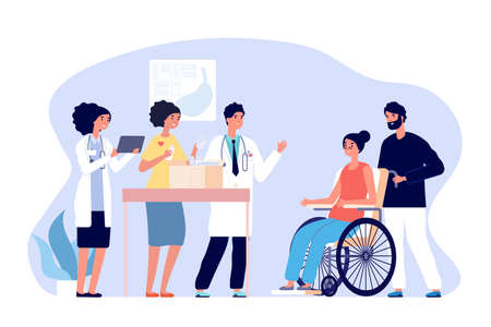 Volunteer doctors. Medical humanitarian aid, donations drugs for patients. Medical team gift medicines for disabled woman vector concept. Illustration support and donation, box charity Illusztráció