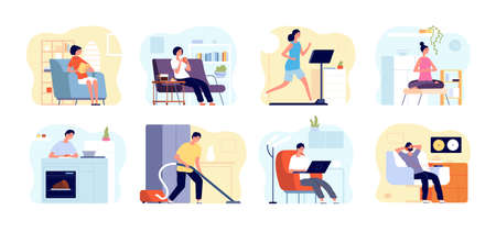 People relax home. Man read book, apartments interiors with leisuring persons. Weekend time, home yoga meditation, cooking vector concept. Home weekend, leisure read book or listen music illustration