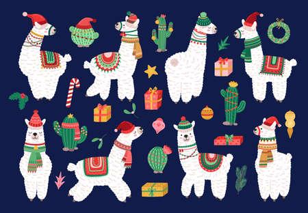 Christmas alpaca. Funny winter llama, holiday cute exotic animals. Scandinavian lama and cactus, cartoon kids wildlife characters vector set. Illustration christmas alpaca, llama cute