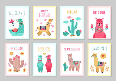 Llama cards. Beautiful invitations, alpaca flower colorful birthday invites. Babies kids posters with cactus cute wild animals vector set. Illustration alpaca card, greeting colored traditional poster 向量圖像