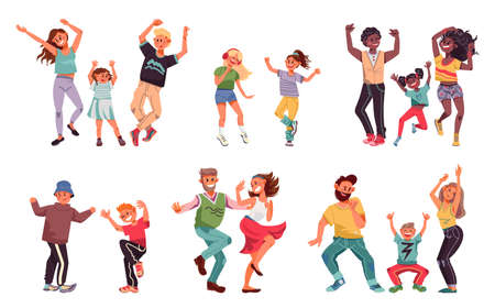 Dancing family. Young people, fun kid parents disco dance. Children and couple enjoy good time, happy dad child mother vector characters. Illustration man and female dance, mother and father