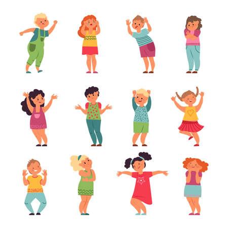 Emotional kids. Child emotions, funny sad happy kid. Cartoon frustrated boy girl, crying smiling preschool people vector. Emotion cartoon sad and laugh, cheerful and smile person illustration Ilustração