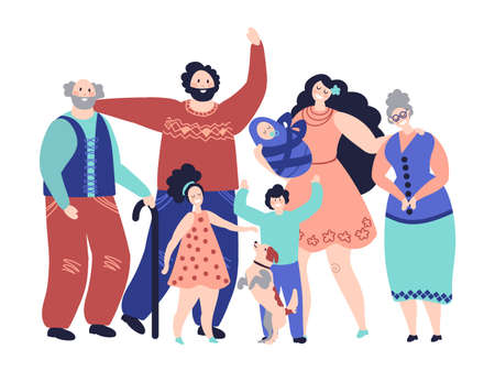 Large family. Generations, cartoon smiling parents and kids. Happy grandparents mom girl boy baby characters, parenthood vector concept. Illustration family mother and father happy Vecteurs