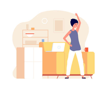 Fitness time. Girl stretching, woman doing exercices. Home office worker, freelance vector illustration. Activity sport at workplace, daily yoga exercise