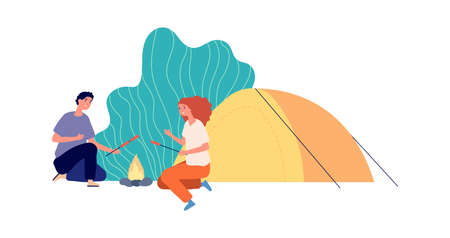 Outdoor relax. Hiking, eco tourism camping. Couple with tent and fire cooking sausages. Happy travellers vector characters. Illustration tourism outdoor, adventure camp and travel