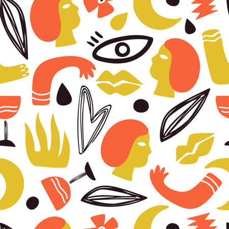 Human body parts. Face, hands legs background. Trendy doodle lips drawing, modern art romantic seamless texture. Fashion print vector pattern. Illustration human doodle background, part silhouette